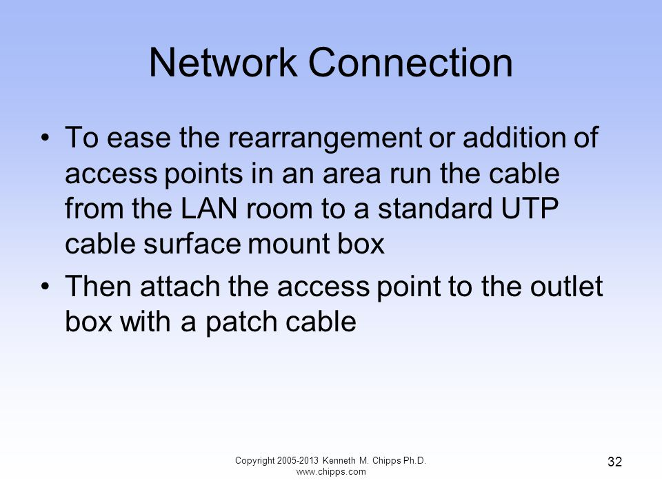 Network Connection To ease the rearrangement or addition of access points in an area run the cable from the LAN room to a standard UTP cable surface mount box Then attach the access point to the outlet box with a patch cable 32 Copyright 2005-2013 Kenneth M.