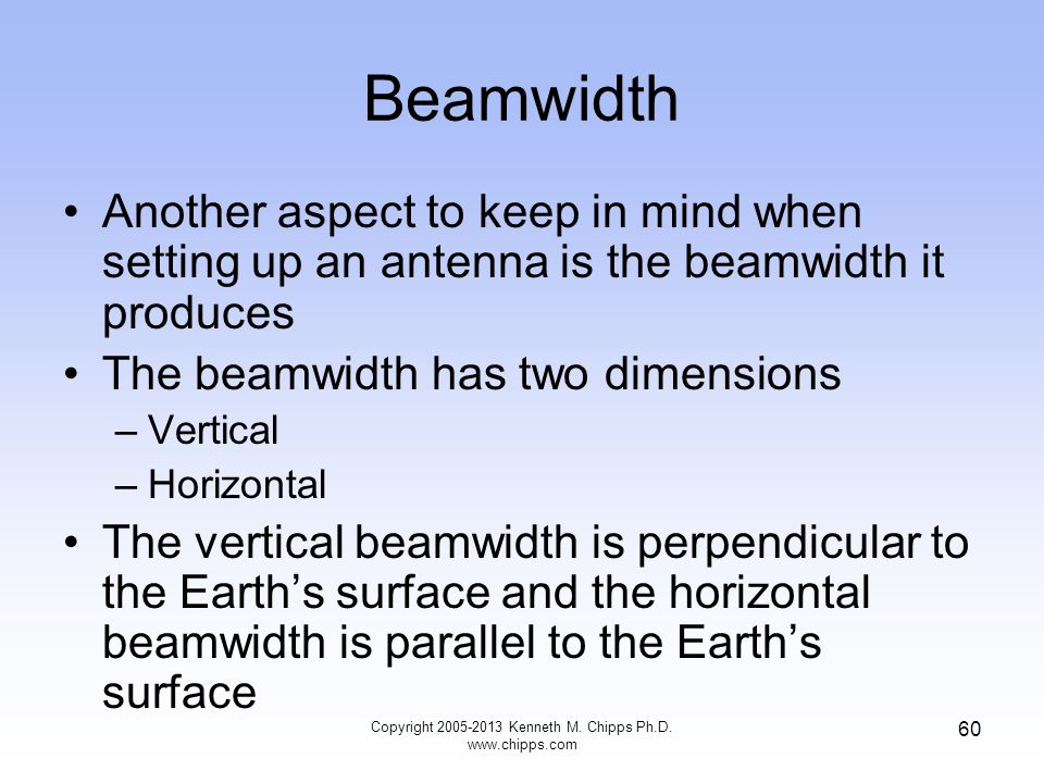 Beamwidth Another aspect to keep in mind when setting up an antenna is the beamwidth it produces The beamwidth has two dimensions –Vertical –Horizontal The vertical beamwidth is perpendicular to the Earths surface and the horizontal beamwidth is parallel to the Earths surface 60 Copyright 2005-2013 Kenneth M.