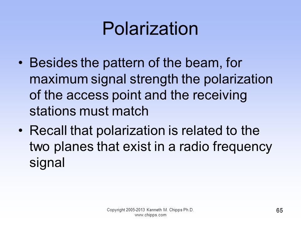 Polarization Besides the pattern of the beam, for maximum signal strength the polarization of the access point and the receiving stations must match Recall that polarization is related to the two planes that exist in a radio frequency signal 65 Copyright 2005-2013 Kenneth M.