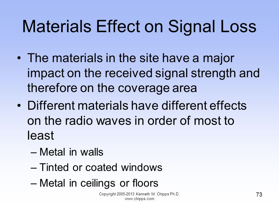 Materials Effect on Signal Loss The materials in the site have a major impact on the received signal strength and therefore on the coverage area Different materials have different effects on the radio waves in order of most to least –Metal in walls –Tinted or coated windows –Metal in ceilings or floors 73 Copyright 2005-2013 Kenneth M.