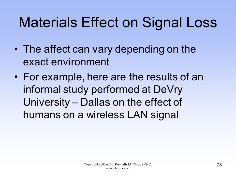 Materials Effect on Signal Loss The affect can vary depending on the exact environment For example, here are the results of an informal study performed at DeVry University – Dallas on the effect of humans on a wireless LAN signal Copyright 2005-2013 Kenneth M.
