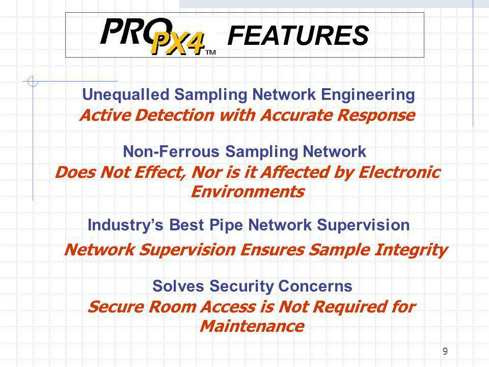 9 Unequalled Sampling Network Engineering Active Detection with Accurate Response Non-Ferrous Sampling Network Does Not Effect, Nor is it Affected by Electronic Environments Industrys Best Pipe Network Supervision Network Supervision Ensures Sample Integrity Solves Security Concerns Secure Room Access is Not Required for Maintenance FEATURES