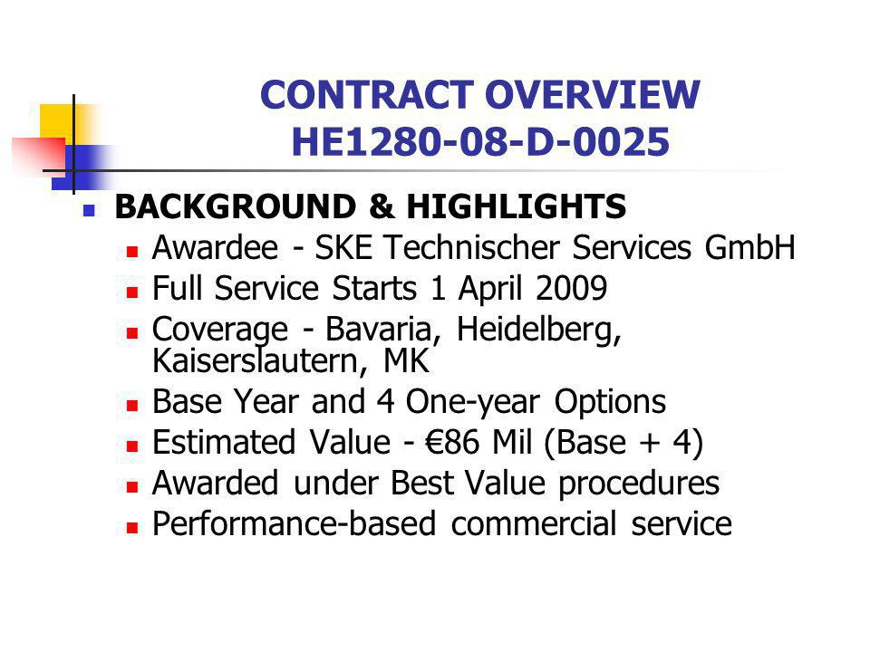 CONTRACT OVERVIEW HE1280-08-D-0025 BACKGROUND & HIGHLIGHTS Awardee - SKE Technischer Services GmbH Full Service Starts 1 April 2009 Coverage - Bavaria