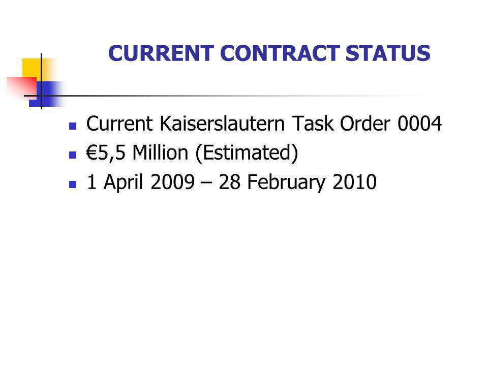CURRENT CONTRACT STATUS Current Kaiserslautern Task Order 0004 5,5 Million (Estimated) 1 April 2009 – 28 February 2010