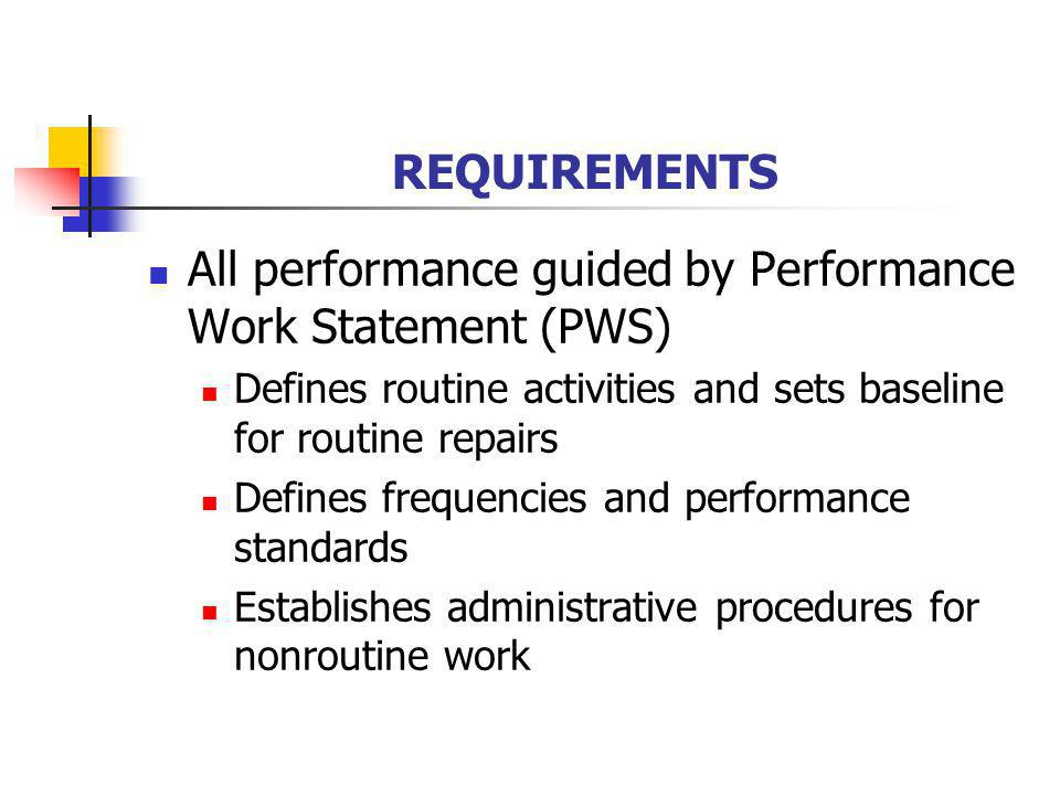 REQUIREMENTS All performance guided by Performance Work Statement (PWS) Defines routine activities and sets baseline for routine repairs Defines frequ