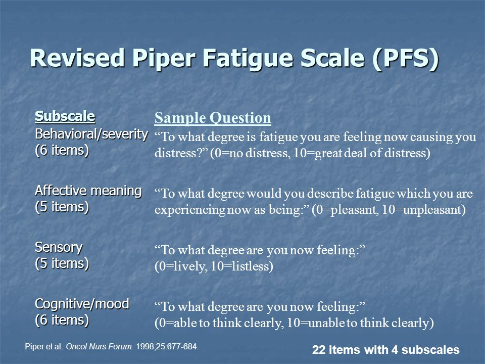 Revised Piper Fatigue Scale (PFS) Subscale Behavioral/severity (6 items) Affective meaning (5 items) Sensory (5 items) Cognitive/mood (6 items) 22 items with 4 subscales Sample Question To what degree is fatigue you are feeling now causing you distress.