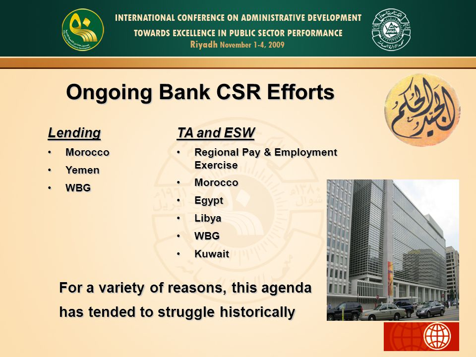 Ongoing Bank CSR Efforts Lending MoroccoMorocco YemenYemen WBGWBG TA and ESW Regional Pay & Employment ExerciseRegional Pay & Employment Exercise MoroccoMorocco EgyptEgypt LibyaLibya WBGWBG KuwaitKuwait For a variety of reasons, this agenda has tended to struggle historically