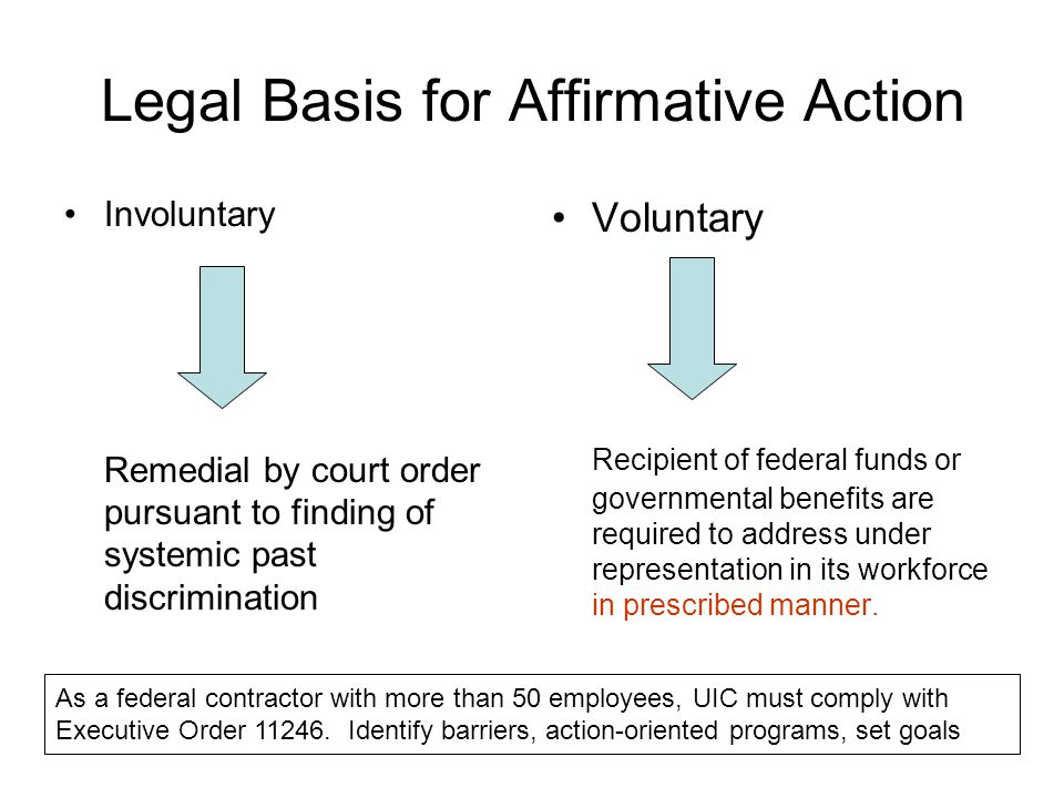 Legal Basis for Affirmative Action Involuntary Remedial by court order pursuant to finding of systemic past discrimination Voluntary Recipient of federal funds or governmental benefits are required to address under representation in its workforce in prescribed manner.