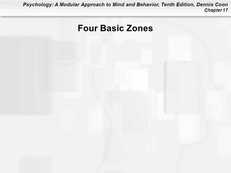 Psychology: A Modular Approach to Mind and Behavior, Tenth Edition, Dennis Coon Chapter 17 Four Basic Zones