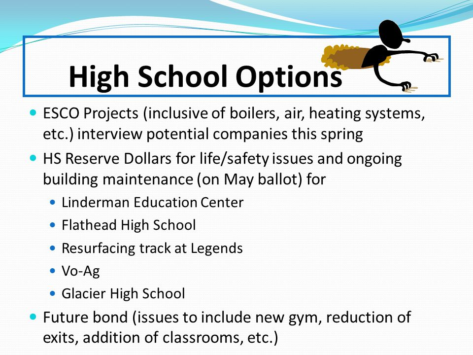 High School Options ESCO Projects (inclusive of boilers, air, heating systems, etc.) interview potential companies this spring HS Reserve Dollars for