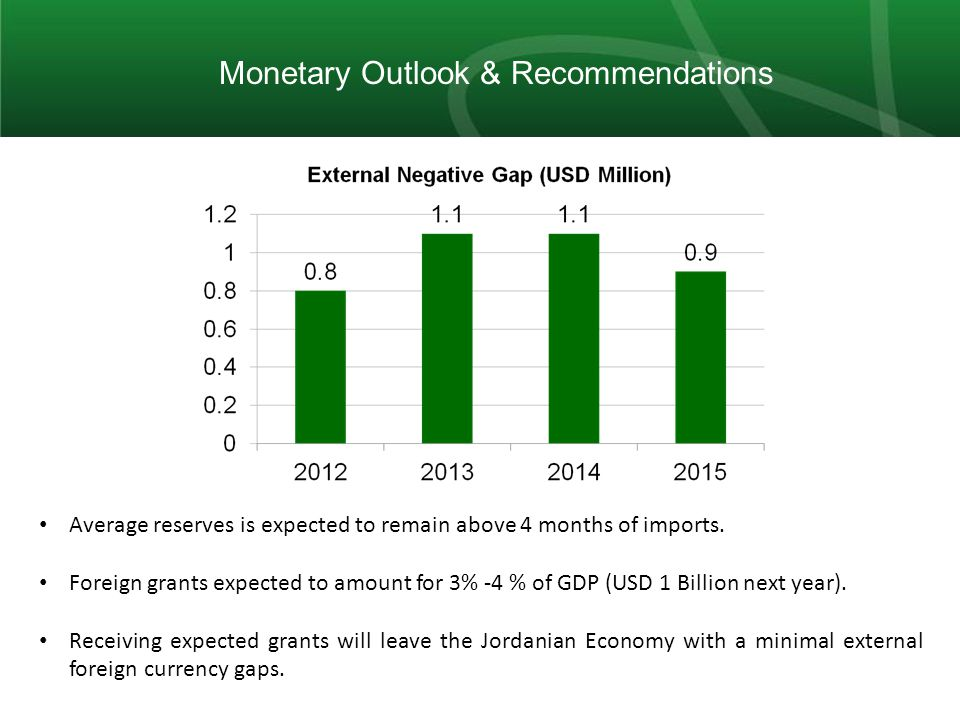11 Monetary Outlook & Recommendations Average reserves is expected to remain above 4 months of imports.