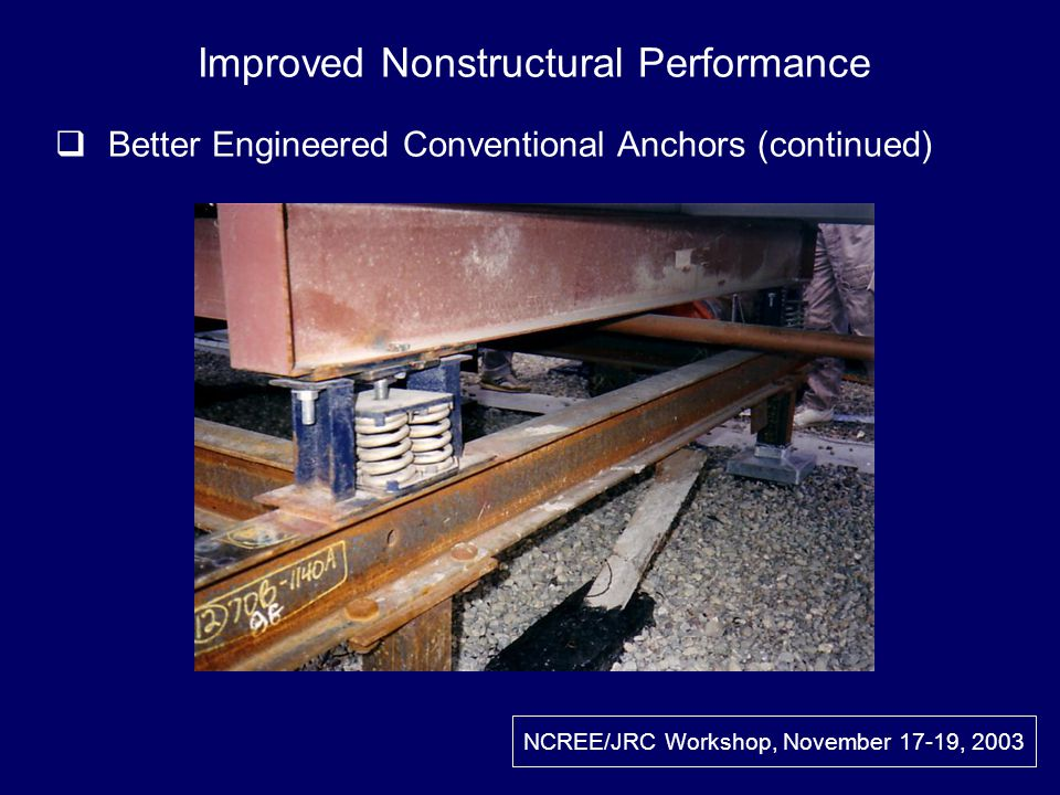Improved Nonstructural Performance Better Engineered Conventional Anchors (continued)