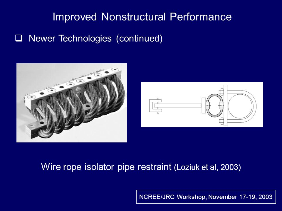 NCREE/JRC Workshop, November 17-19, 2003 Wire rope isolator pipe restraint (Loziuk et al, 2003) Improved Nonstructural Performance Newer Technologies (continued)