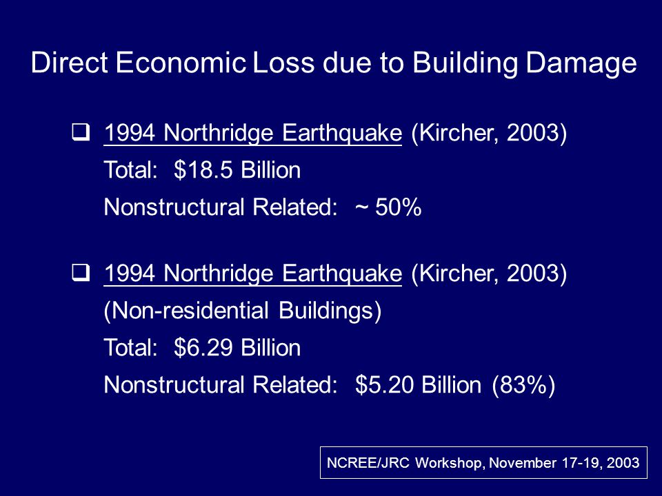 Direct Economic Loss due to Building Damage 1994 Northridge Earthquake (Kircher, 2003) Total: $18.5 Billion Nonstructural Related: ~ 50% 1994 Northridge Earthquake (Kircher, 2003) (Non-residential Buildings) Total: $6.29 Billion Nonstructural Related: $5.20 Billion (83%) NCREE/JRC Workshop, November 17-19, 2003