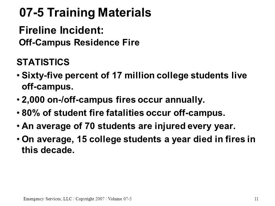 Emergency Services, LLC / Copyright 2007 / Volume STATISTICS Sixty-five percent of 17 million college students live off-campus.