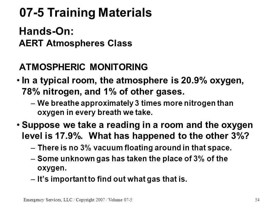 Emergency Services, LLC / Copyright 2007 / Volume 07-554 ATMOSPHERIC MONITORING In a typical room, the atmosphere is 20.9% oxygen, 78% nitrogen, and 1% of other gases.