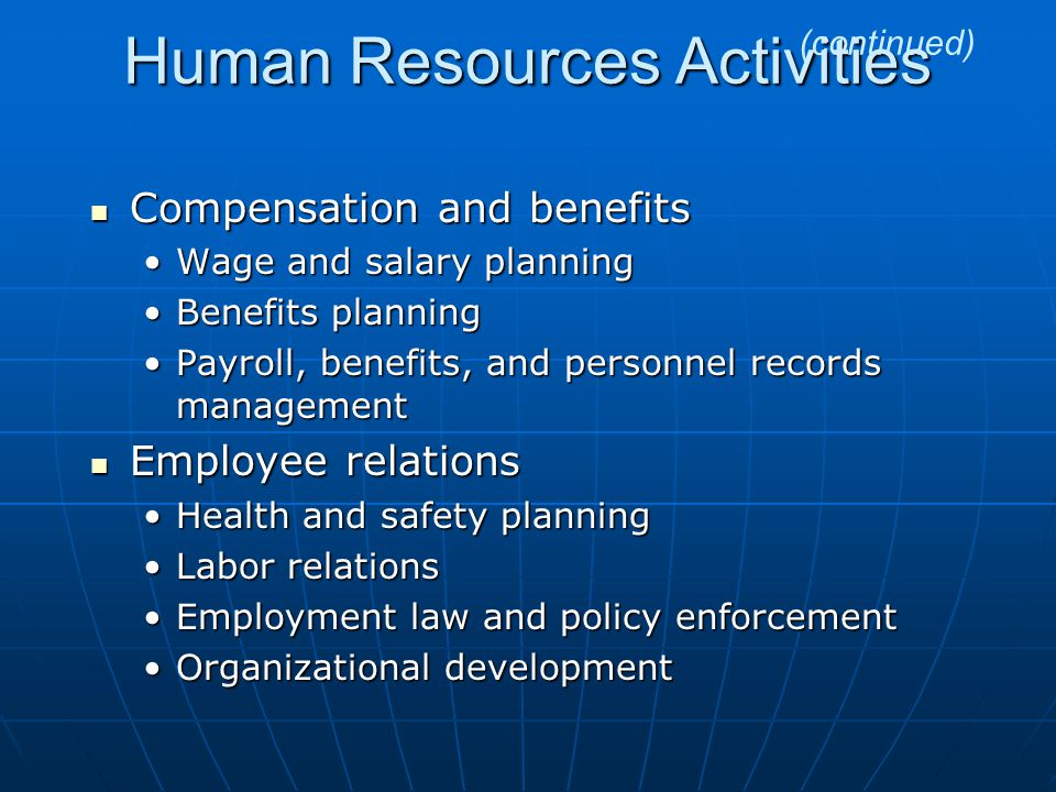 Human Resources Activities Compensation and benefits Compensation and benefits Wage and salary planningWage and salary planning Benefits planningBenefits planning Payroll, benefits, and personnel records managementPayroll, benefits, and personnel records management Employee relations Employee relations Health and safety planningHealth and safety planning Labor relationsLabor relations Employment law and policy enforcementEmployment law and policy enforcement Organizational developmentOrganizational development (continued)