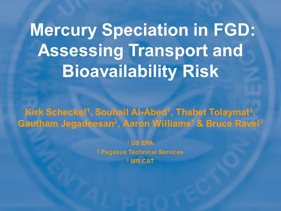 Mercury Speciation in FGD: Assessing Transport and Bioavailability Risk Kirk Scheckel 1, Souhail Al-Abed 1, Thabet Tolaymat 1, Gautham Jegadeesan 2, Aaron Williams 1 & Bruce Ravel 3 1 US EPA 2 Pegasus Technical Services 3 MR CAT