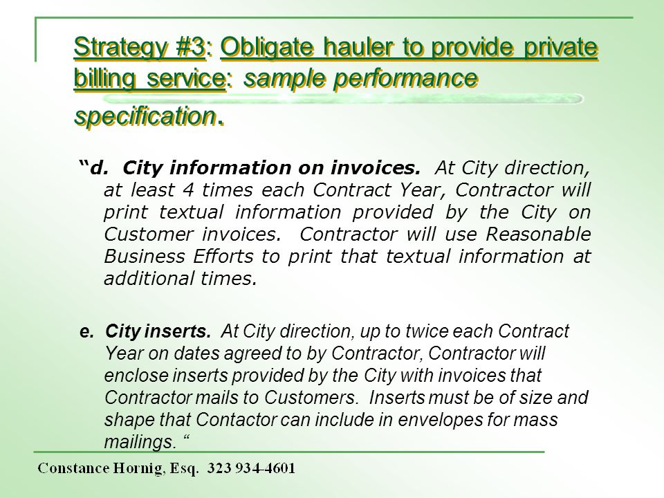 Strategy #3: Obligate hauler to provide private billing service: sample performance specification.