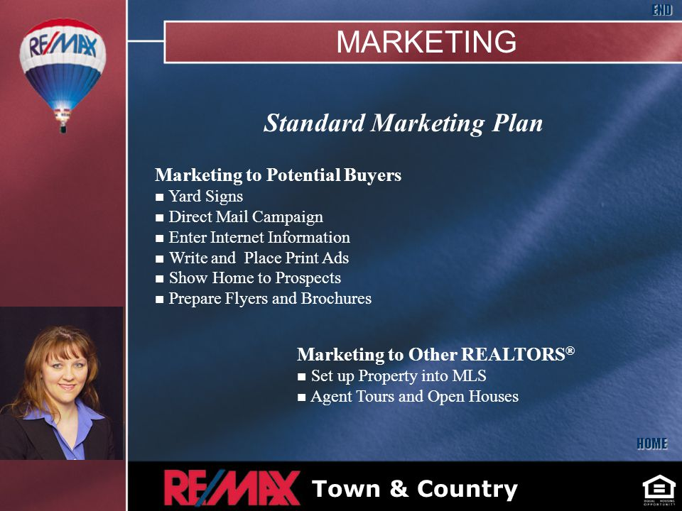 Standard Marketing Plan Marketing to Potential Buyers n Yard Signs n Direct Mail Campaign n Enter Internet Information n Write and Place Print Ads n Show Home to Prospects n Prepare Flyers and Brochures Marketing to Other REALTORS ® n Set up Property into MLS n Agent Tours and Open Houses HOME END Bryan McNally Insert Your Picture Here Town & Country MARKETING