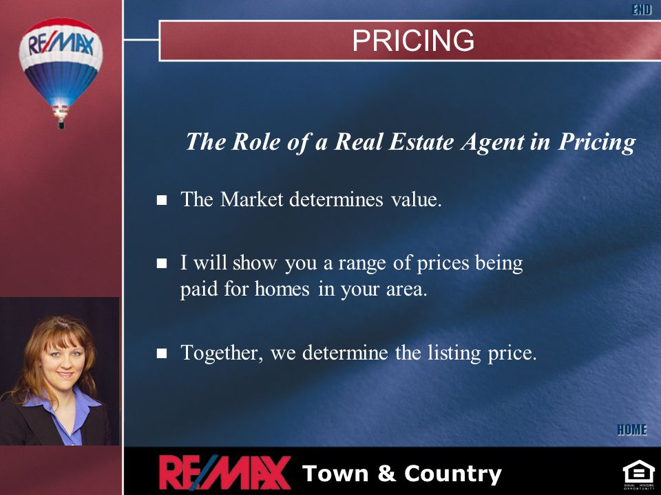 The Role of a Real Estate Agent in Pricing n The Market determines value.