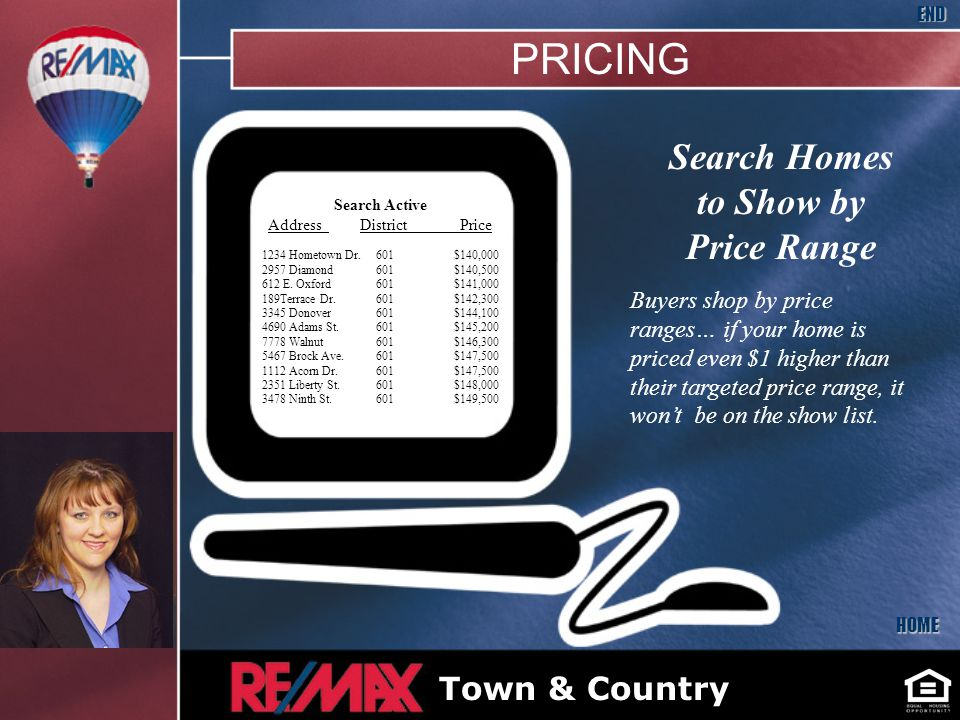 Search Homes to Show by Price Range Buyers shop by price ranges… if your home is priced even $1 higher than their targeted price range, it wont be on the show list.