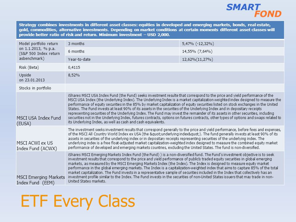ETF Every Class Strategy combines investments in different asset classes: equities in developed and emerging markets, bonds, real estate, gold, commodities, alternative investments.