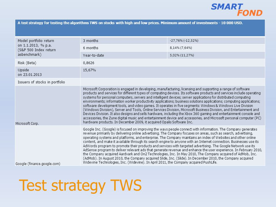 Test strategy TWS A test strategy for testing the algorithms TWS on stocks with high and low prices.