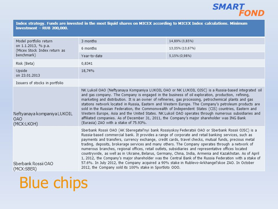 Blue chips Index strategy.