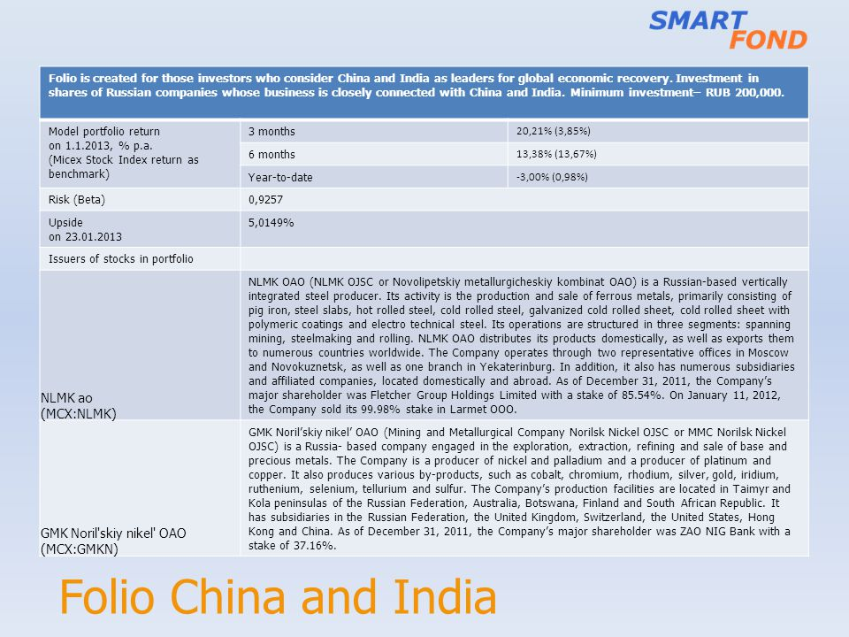 Folio China and India Folio is created for those investors who consider China and India as leaders for global economic recovery. Investment in shares
