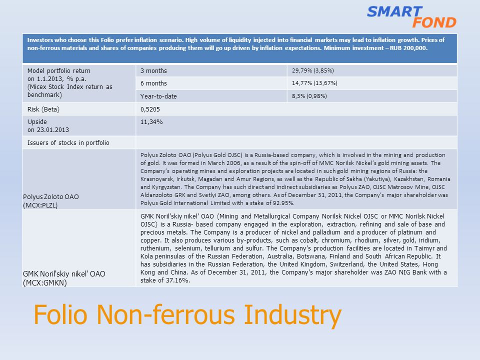 Folio Non-ferrous Industry Investors who choose this Folio prefer inflation scenario. High volume of liquidity injected into financial markets may lea