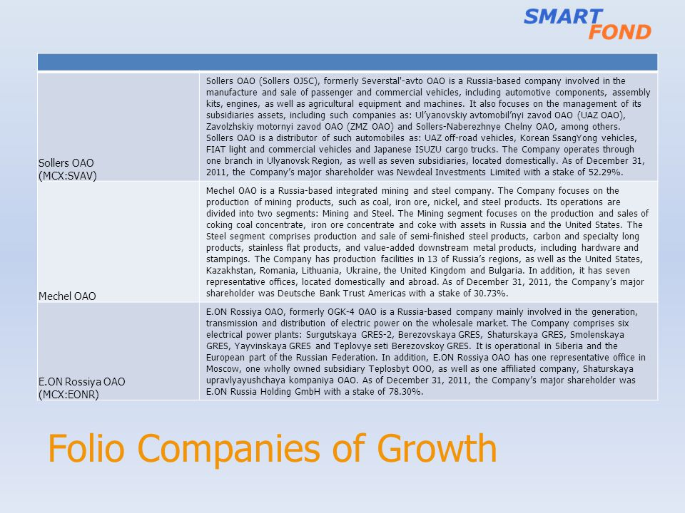 Folio Companies of Growth Sollers OAO (MCX:SVAV) Sollers OAO (Sollers OJSC), formerly Severstal -avto OAO is a Russia-based company involved in the manufacture and sale of passenger and commercial vehicles, including automotive components, assembly kits, engines, as well as agricultural equipment and machines.