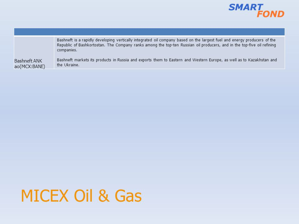 MICEX Oil & Gas Bashneft ANK ao(MCX:BANE) Bashneft is a rapidly developing vertically integrated oil company based on the largest fuel and energy prod