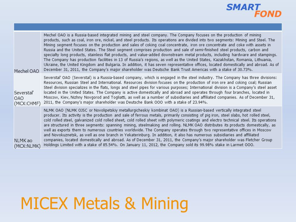 MICEX Metals & Mining Mechel OAO Mechel OAO is a Russia-based integrated mining and steel company. The Company focuses on the production of mining pro