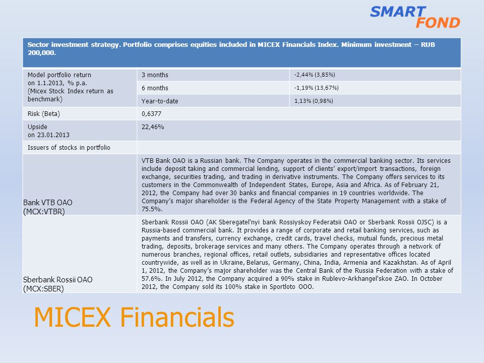 MICEX Financials Sector investment strategy.