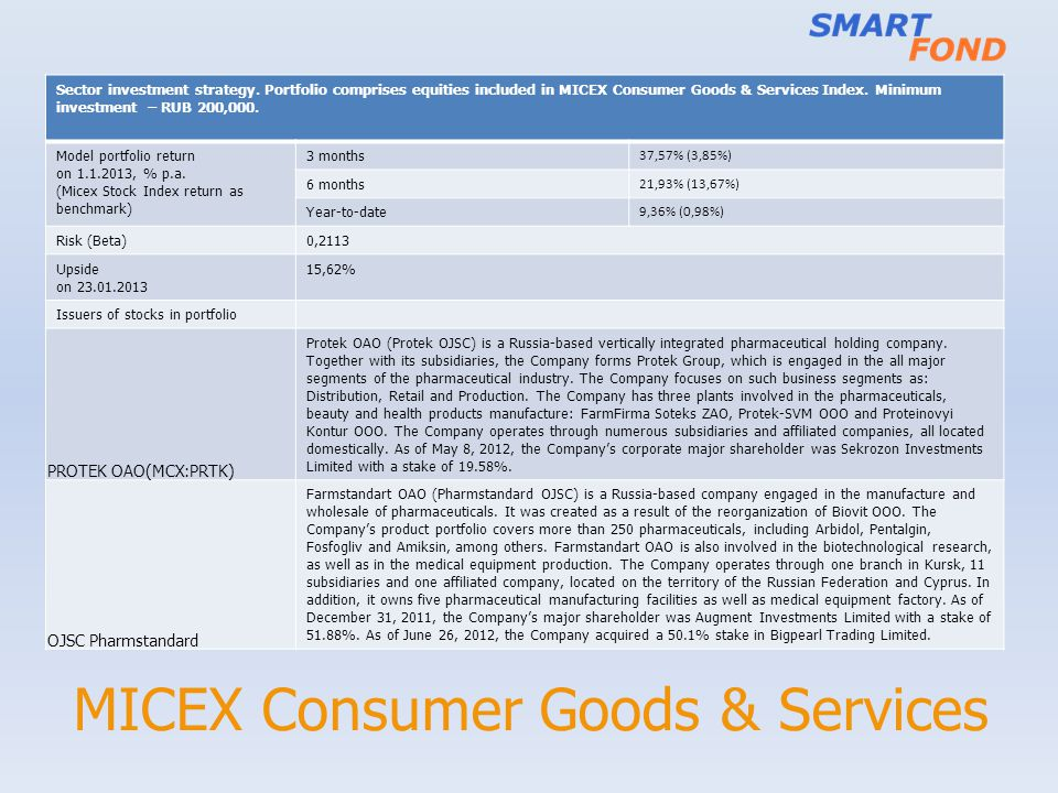 MICEX Consumer Goods & Services Sector investment strategy. Portfolio comprises equities included in MICEX Consumer Goods & Services Index. Minimum in
