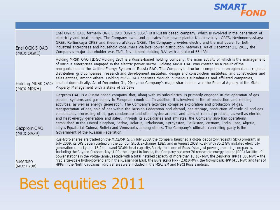 Best equities 2011 Enel OGK-5 OAO (MCX:OGKE) Enel OGK-5 OAO, formerly OGK-5 OAO (OGK-5 OJSC) is a Russia-based company, which is involved in the gener