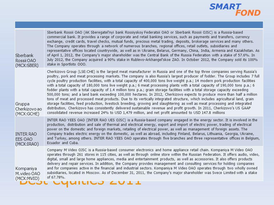 Best equities 2011 Sberbank Rossii OAO (MCX:SBER) Sberbank Rossii OAO (AK Sberegatel'nyi bank Rossiyskoy Federatsii OAO or Sberbank Rossii OJSC) is a