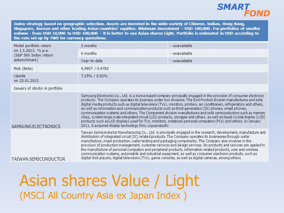 Asian shares Value / Light (MSCI All Country Asia ex Japan Index ) Index strategy based on geographic selection. Assets are invested in the wide varie