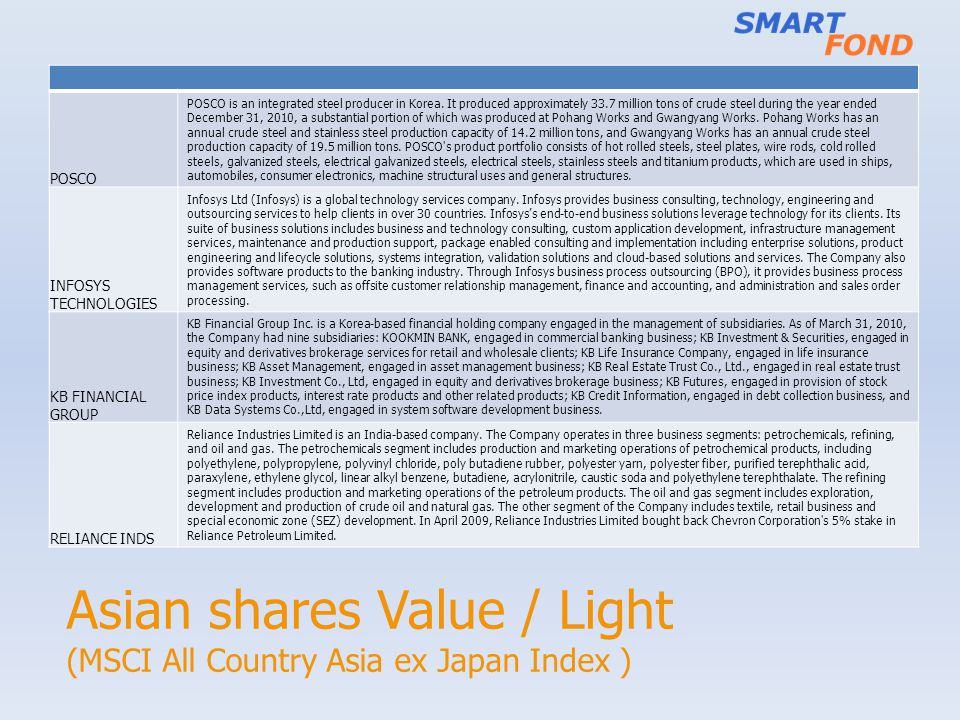 Asian shares Value / Light (MSCI All Country Asia ex Japan Index ) POSCO POSCO is an integrated steel producer in Korea. It produced approximately 33.
