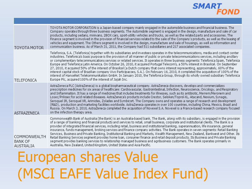 European shares Value (MSCI EAFE Value Index Fund) TOYOTA MOTOR TOYOTA MOTOR CORPORATION is a Japan-based company mainly engaged in the automobile bus