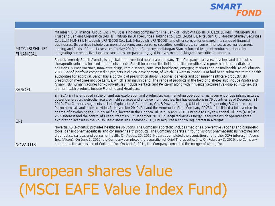 European shares Value (MSCI EAFE Value Index Fund) MITSUBISHI UFJ FINANCIAL Mitsubishi UFJ Financial Group, Inc. (MUFJ) is a holding company for The B