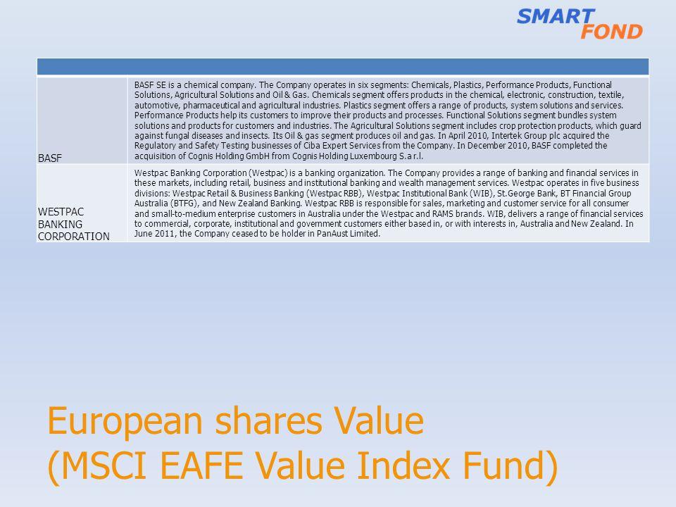 European shares Value (MSCI EAFE Value Index Fund) BASF BASF SE is a chemical company.