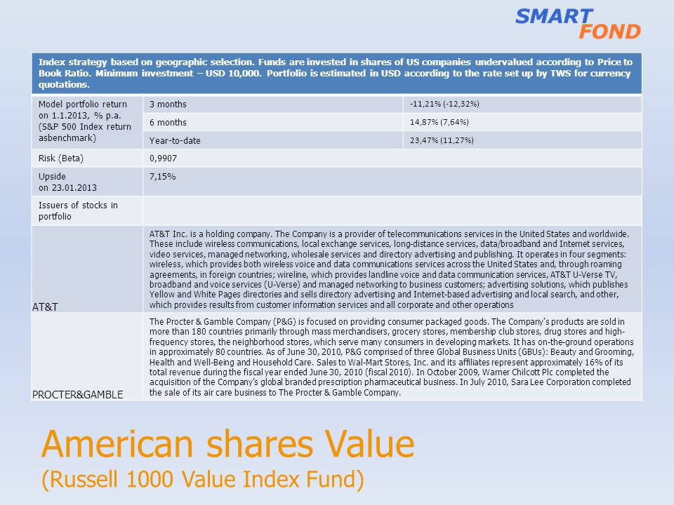 American shares Value (Russell 1000 Value Index Fund) Index strategy based on geographic selection. Funds are invested in shares of US companies under