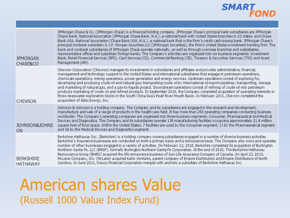 American shares Value (Russell 1000 Value Index Fund) JPMORGAN CHASE&CO JPMorgan Chase & Co.