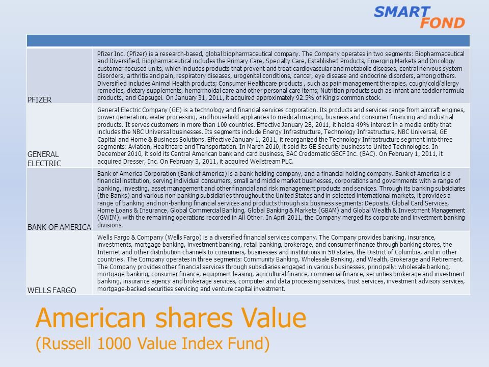 American shares Value (Russell 1000 Value Index Fund) PFIZER Pfizer Inc.