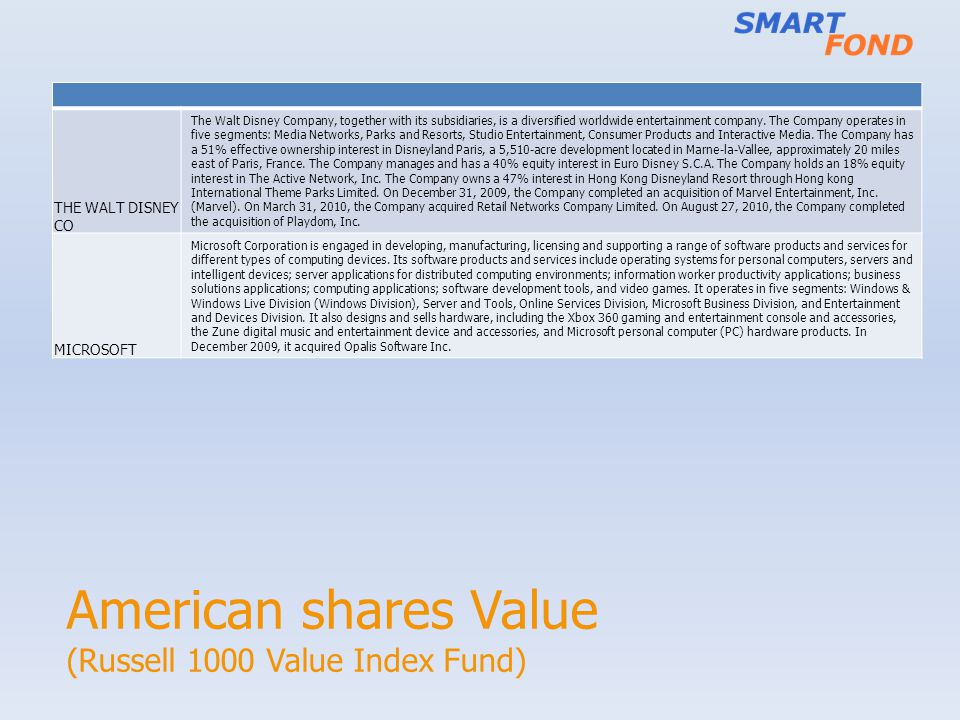 American shares Value (Russell 1000 Value Index Fund) THE WALT DISNEY CO The Walt Disney Company, together with its subsidiaries, is a diversified worldwide entertainment company.