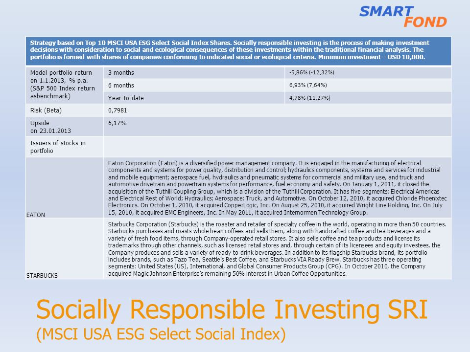 Socially Responsible Investing SRI (MSCI USA ESG Select Social Index) Strategy based on Top 10 MSCI USA ESG Select Social Index Shares.