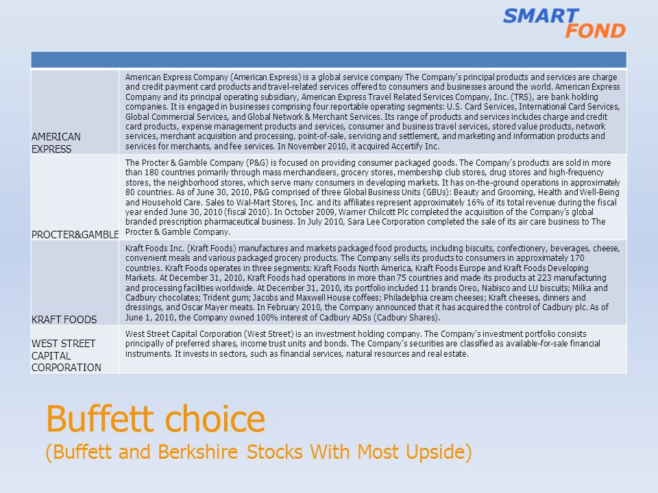 Buffett choice (Buffett and Berkshire Stocks With Most Upside) AMERICAN EXPRESS American Express Company (American Express) is a global service compan