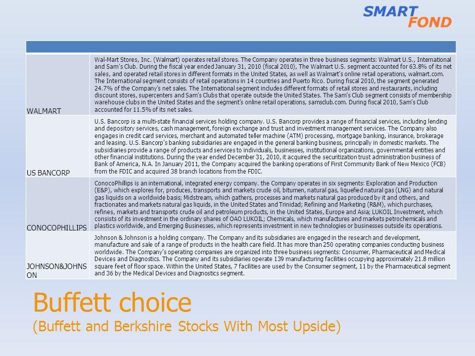 Buffett choice (Buffett and Berkshire Stocks With Most Upside) WALMART Wal-Mart Stores, Inc.